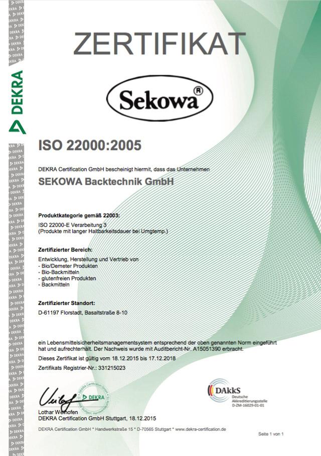 Zertifikat ISO 22000:2005