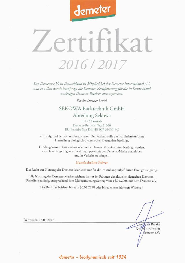 Zertifikat demeter 2016 / 2017