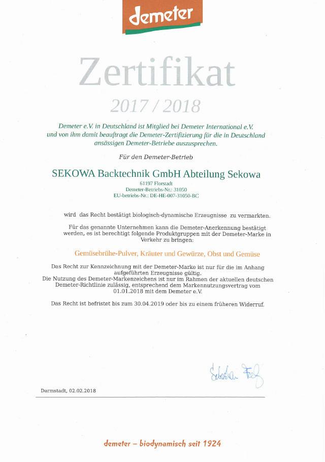 Zertifikat demeter 2017/2018