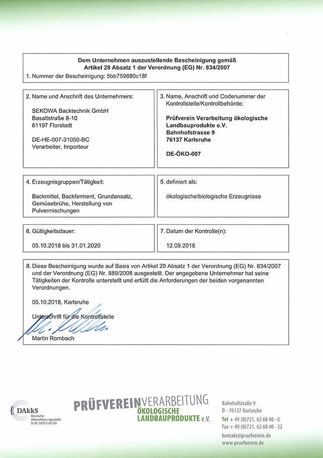 Ansicht Biozertifikat DE-ÖKO-007 2019