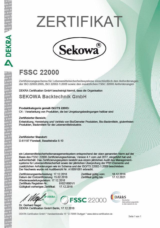 Ansicht Zertifikat FSSC 22000