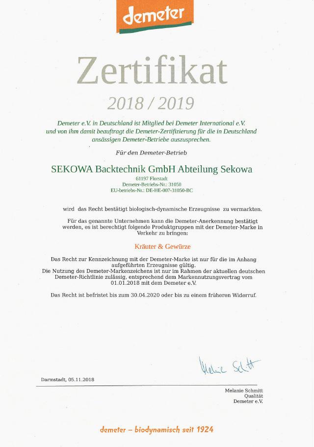 Zertifikat demeter 2018/2019